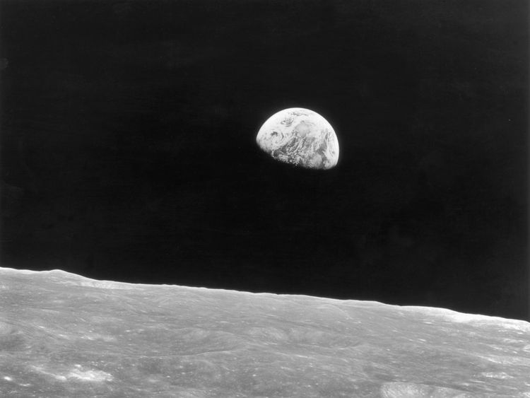 Earth rises above the horizon of the moon, as seen by the crew of the Apollo 8 mission, December 1968. (Photo by Keystone/Hulton Archive/Getty Images)