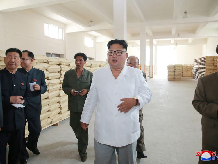 Kim Jong Un inspects a potato flour factory