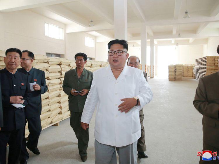 Kim Jong Un inspects a potato flour factory