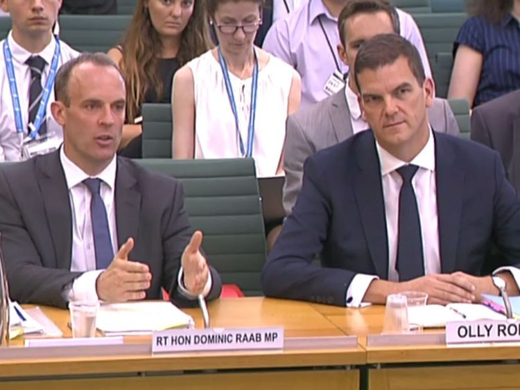 Dominic Raab and OIly Robbins