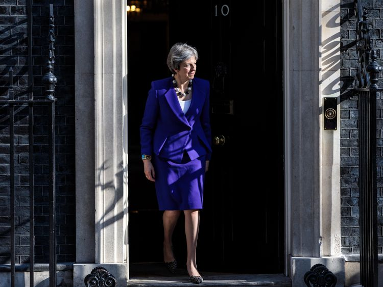 LONDON, ENGLAND - APRIL 18: British Prime Minister Theresa May leaves Number 10 Downing Street to greet the Prime Minister of India Narendra Modi ahead of a bilateral meeting on April 18, 2018 in London, England. Mrs May holds bilateral talks with a number of Commonwealth leaders today as the UK this week hosts heads of state and government from the Commonwealth nations. (Photo by Jack Taylor/Getty Images)