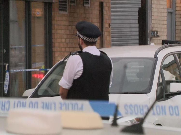 Police at the scene of a stabbing in Islington