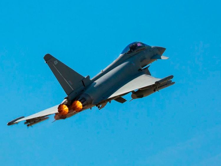 The Typhoons were sent to intercept a Russian bomber plane. Pic: RAF