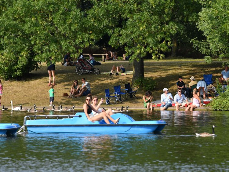 Paddleboating in London's Regent's Park