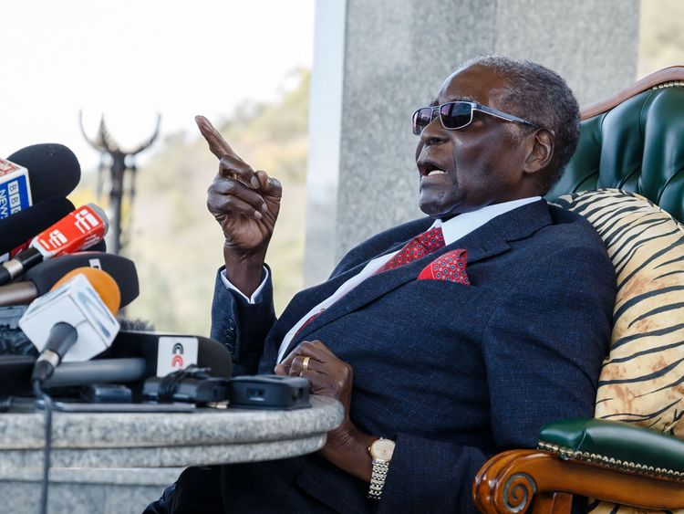 Former Zimbabwean President Robert Mugabe speaks at a surprise press conference at his residence 'Blue Roof '
