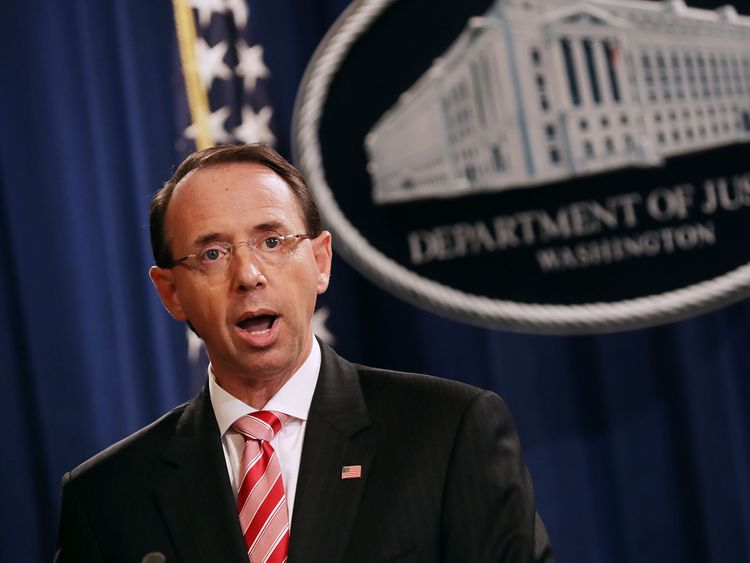 Rod Rosenstein said there would 'always be adversaries' working to 'exacerbate domestic differences'