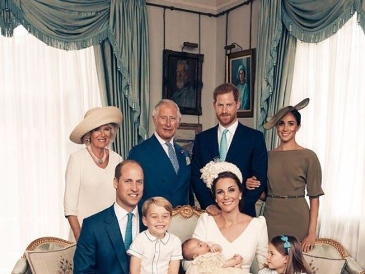 Members of the Royal family have posed for photos to mark Prince Louis's christening. Pic: Mat Holyoak