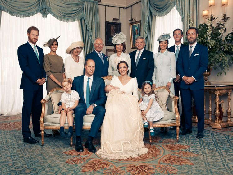 The Middletons joined the Royal family to pose for Louis's christening. Pic: Matt Holyoak
