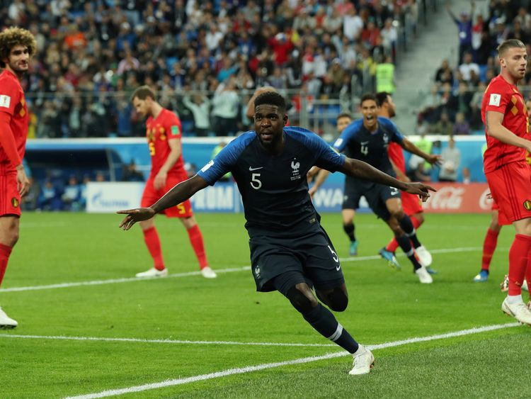 France's Samuel Umtiti celebrates his goal against Belgium
