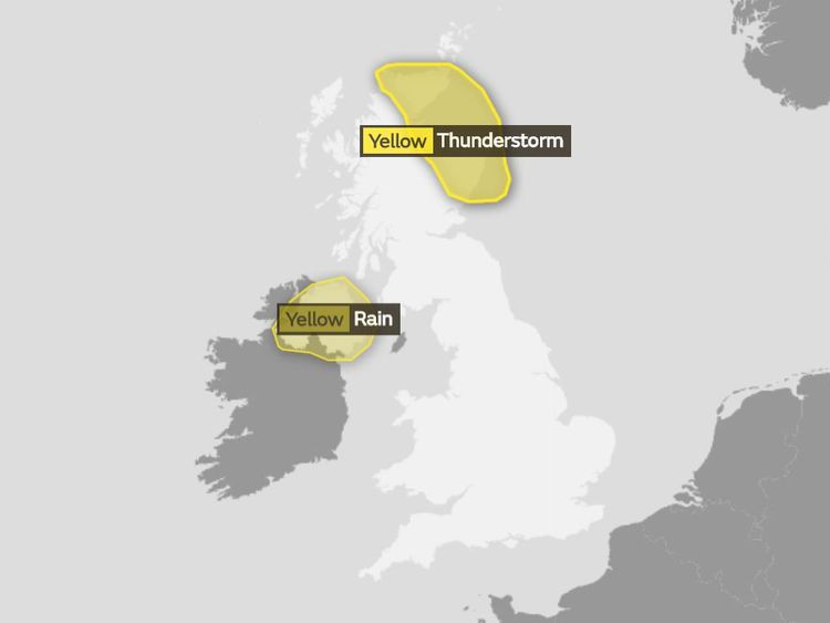 The Met Office weather warnings in place on Saturday