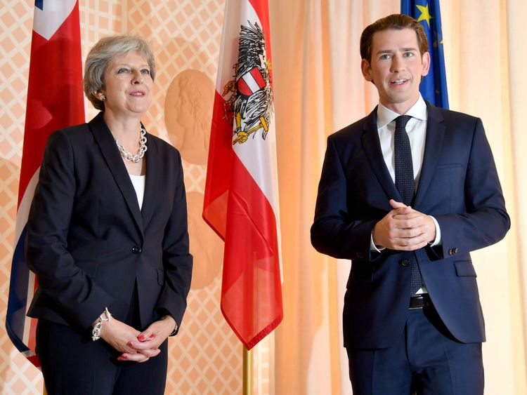 Austrian Chancellor Sebastian Kurz (R) welcomes Theresa May, Prime Minister of the United Kingdom, during a visit on the occasion of the opening of Salzburg's festival for opera, drama and concerts (Salzburger Festspiele) on July 27, 2018 in Salzburg. - Austrian Chancellor Sebastian Kurz hosts British Prime Minister Theresa May at the Salzburg music festival (Photo by BARBARA GINDL / APA / AFP) / Austria OUT (Photo credit should read BARBARA GINDL/AFP/Getty Images)