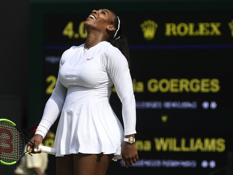 Serena Williams celebrates winning the semi-final against Julia Georges