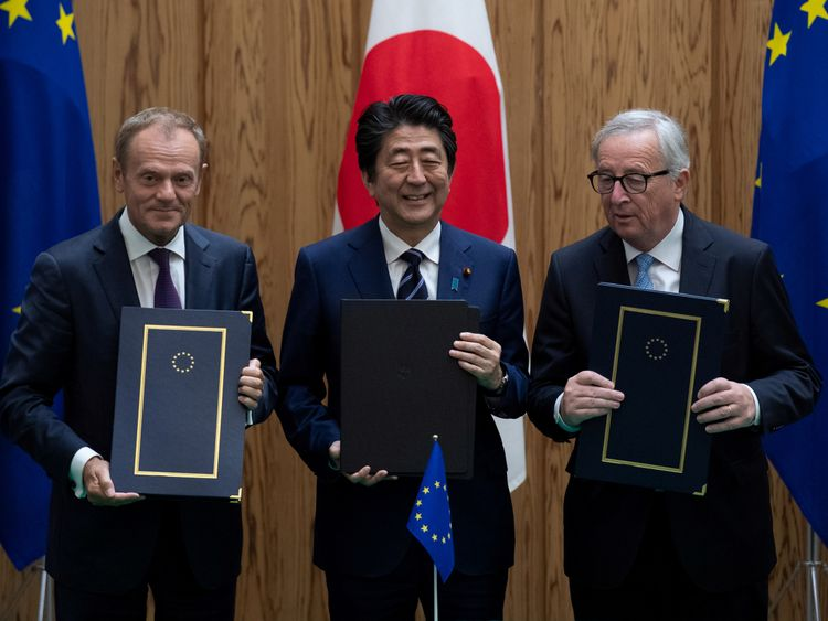Japan, EU sign free trade pact amid worries about Trump