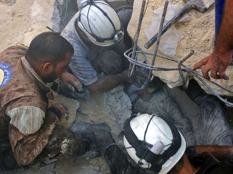 The White Helmets carry out search and rescue operations in rebel-held areas