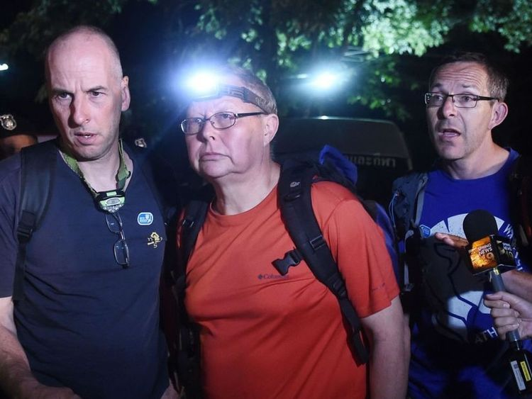 The British Cave Rescue Council has said the diver speaking in the video is likely to be either Richard William Stanton (left) or John Volanthen (right)