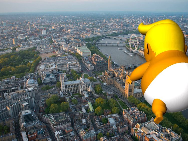 Giant 'Trump baby' flies high for his UK visit class=