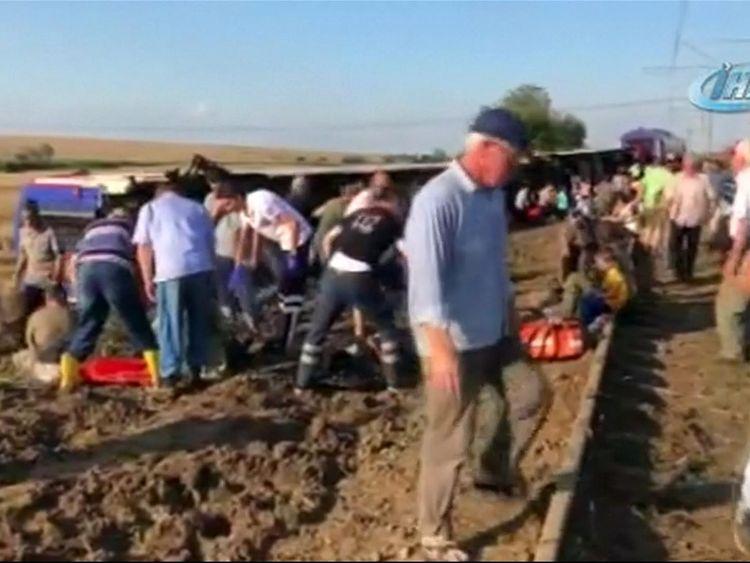 A train has derailed in Turkey