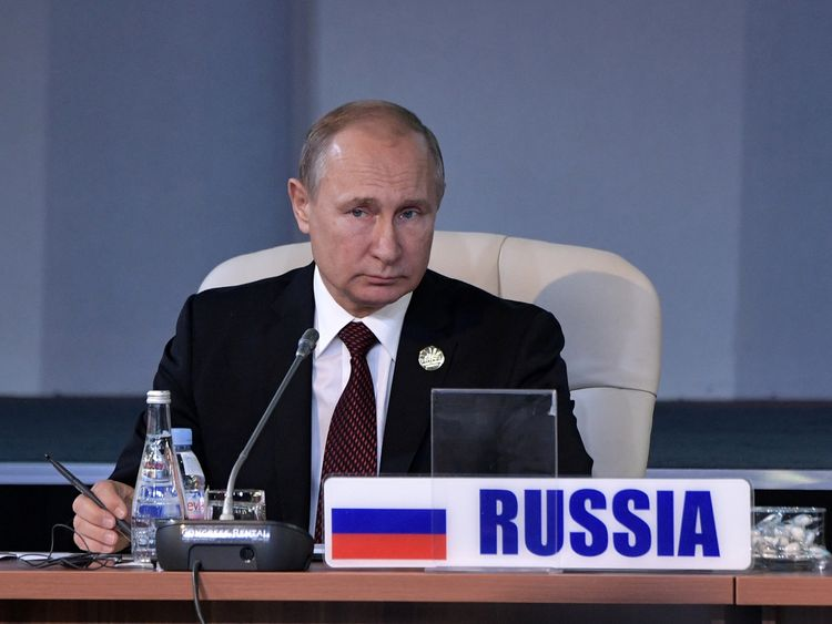 Mr Putin was speaking from a summit in South Africa