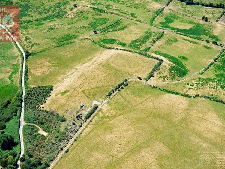 Extensive cropmarks of prehistoric enclosures in parched grassland on the Llyn Peninsula. Pic: RCAHMW