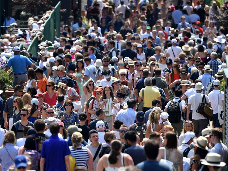 Tennis fans enjoyed sunny weather during Wimbledon on Friday
