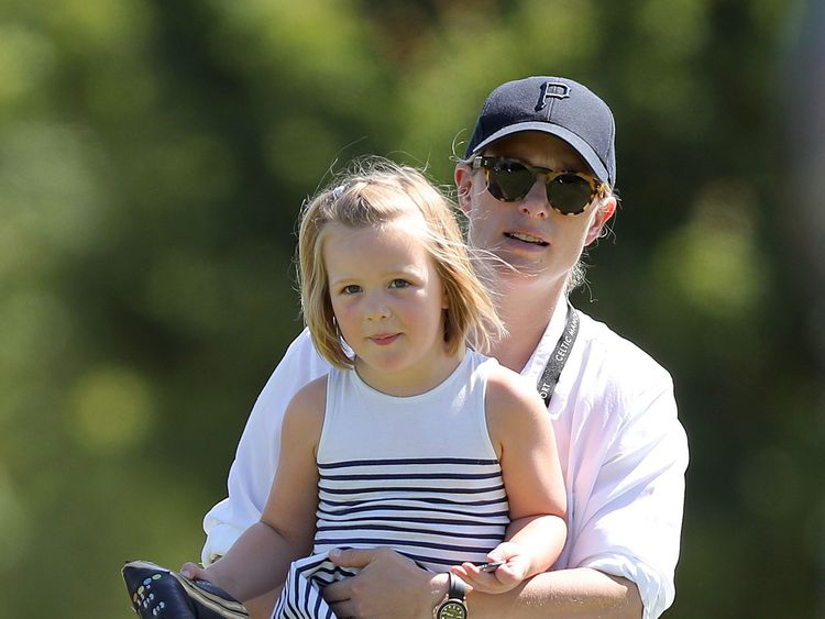 Zara Tindall with her daughter Mia, during the Celebrity Cup charity golf tournament at The Celtic Manor Resort in Newport