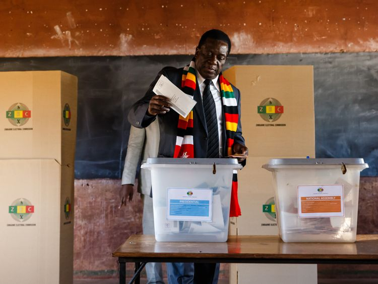The president cast his vote at a school in Kwekwe