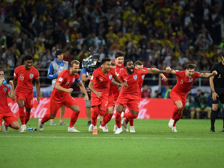 England's players celebrate winning the penalty shootout over Colombia in Moscow