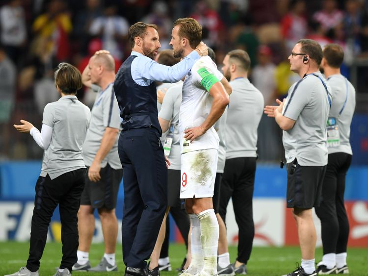 Harry Kane and Gareth Southgate commiserate after England's loss to Croatia