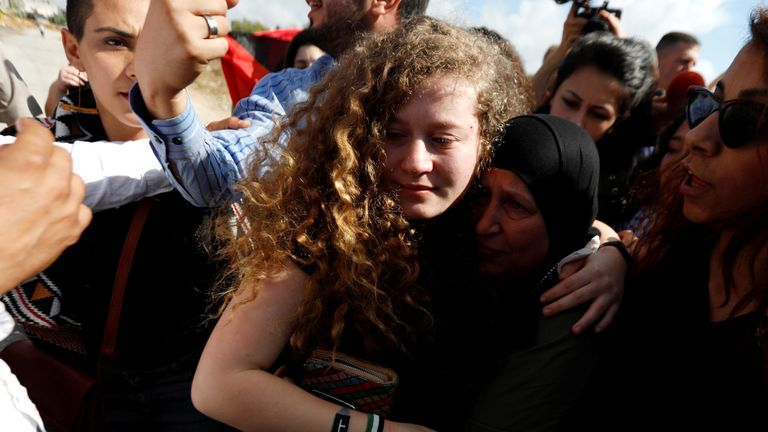Ahed Tamimi reunites with supporters after being released from prison