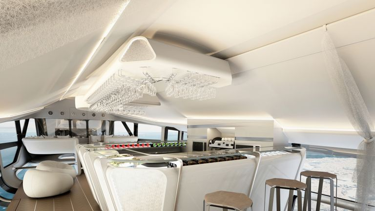 A total of 18 guests can enjoy fine dining in the skies. Design Q/Airlander/Cover Images