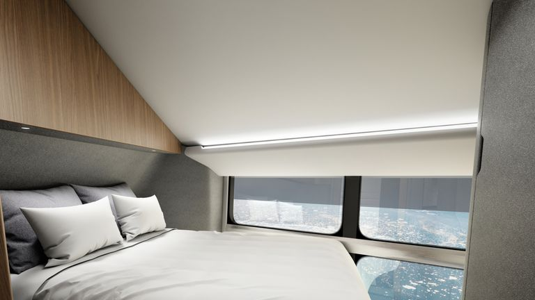 A bedroom cabin on the luxury aircraft. Pic: Design Q/Airlander/Cover Images