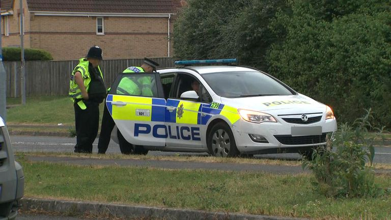 Police at the scene in Amesbury