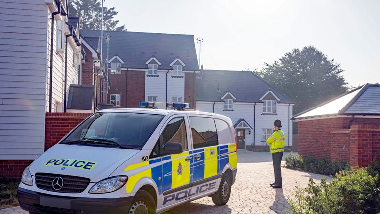 Police remain at the house in Muggleton Road in Amesbury