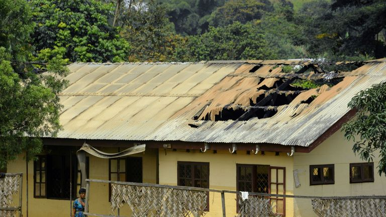 A school roof partially burned out after an arson attack