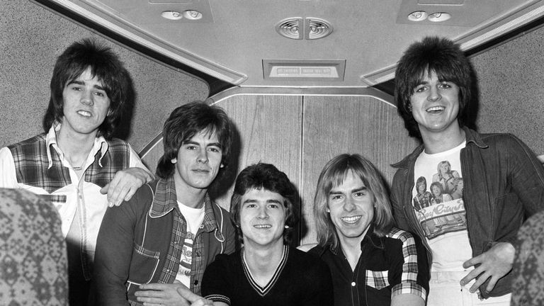 Alan Longmuir (second from the left) pictured with the Bay City Rollers in 1975