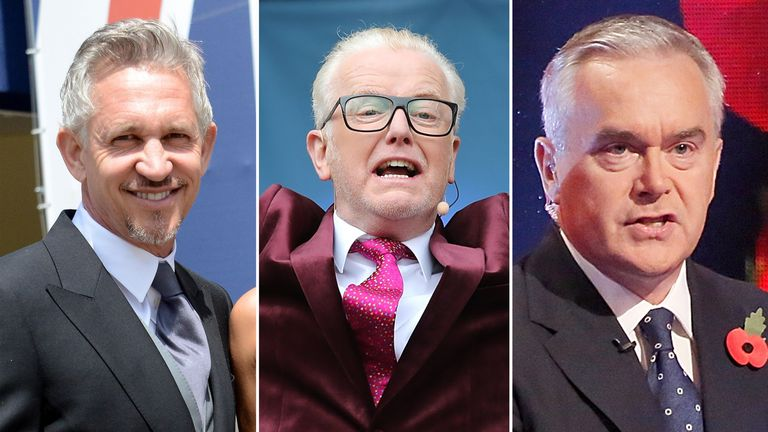 Gary Lineker, Chris Evans and Huw Edwards are among the top earners