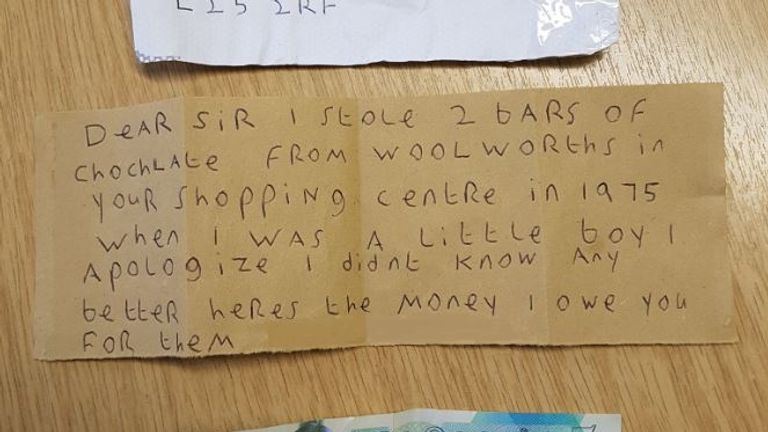 An anonymous shoplifter sent an apology note to Belle Vale Shopping Centre in Liverpool. Pic: Twitter/Belle Vale Shopping