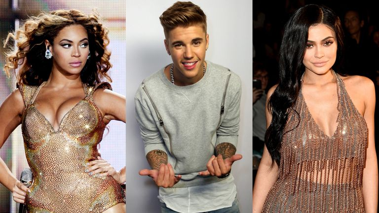 Beyonce, Bieber, Kylie