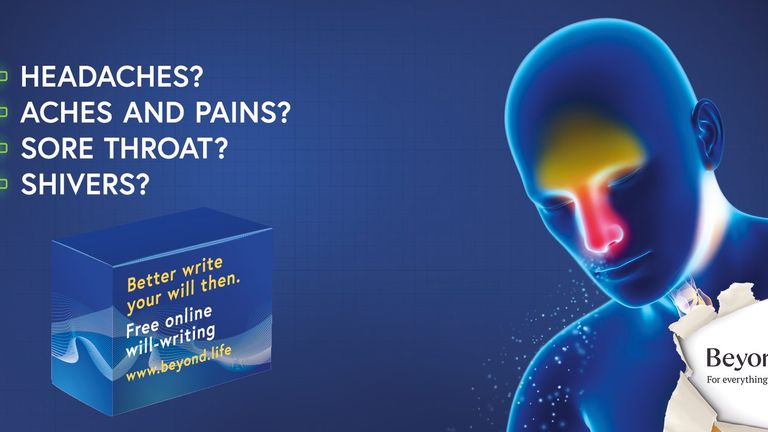 "A Beyond advert jokes you ""better write your will"" if you're experience a headache"
