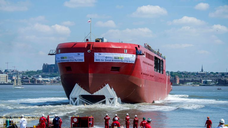 The RRS David Attenborough is launched for the first time