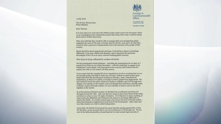 boris resignation letter