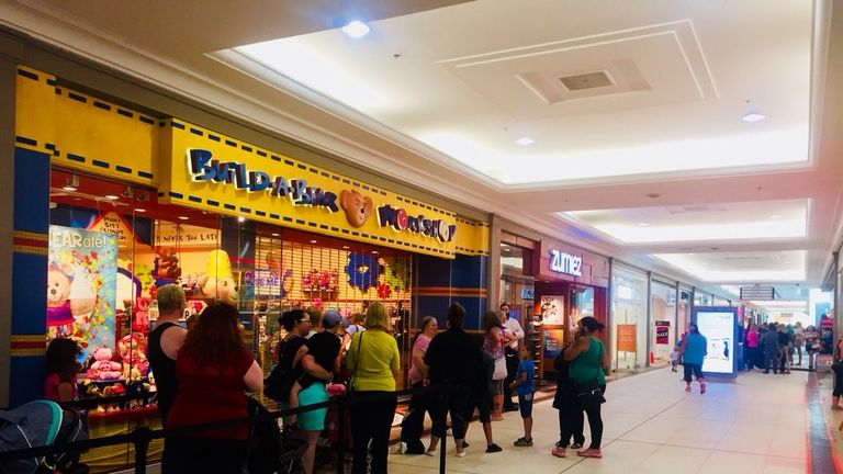 Huge queues were seen at stores across the world, including this store in Canada. Pic: Amanda Spriggs