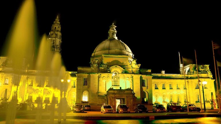 Cardiff City Hall also went yellow. Pic: @jcerieedwards