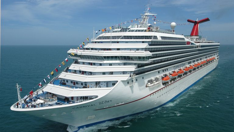 The Carnival Glory cruises off the coast of Florida. Pic: Andy Newman/Carnival Cruise Lines