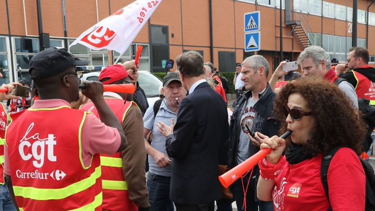 Carrefour has faced union anger over plans to cut thousands of jobs in France to help save costs