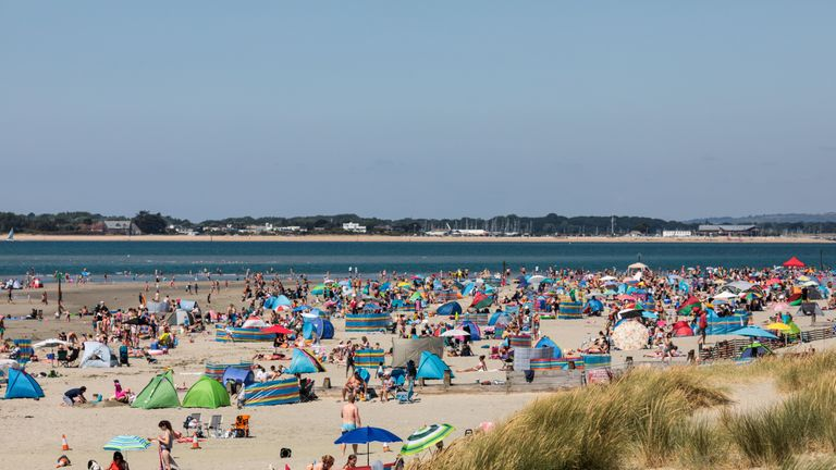 West Wittering beach has been packed during the heatwave