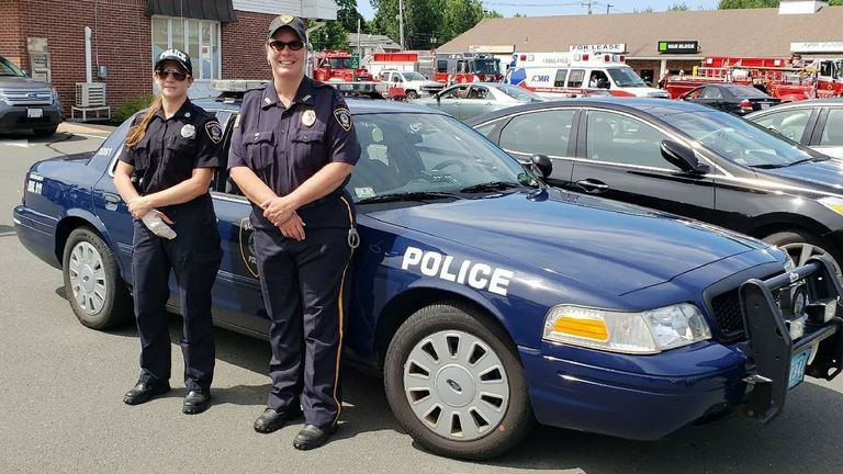 Chief Sarnacki (R) with another Blandford police officer. Pic: Blandford Police Department/Facebook