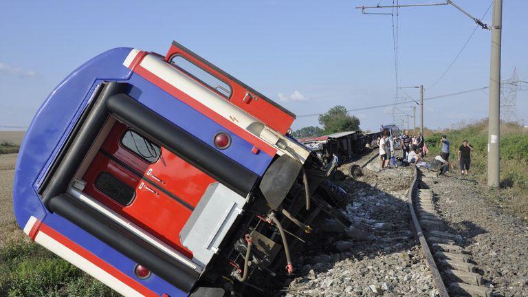 A derailed train is seen near Corlu in Tekirdag province, Turkey, July 8, 2018