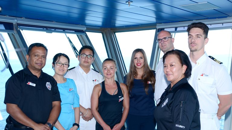 Crew members on Carnival Glory who played a role in the rescue at sea