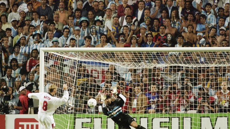 David Batty's penalty is saved by Argentina's Carlos Roa at the 1998 World Cup in St Etienne